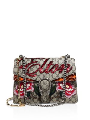 Dionysus Appliquéd Coated-Canvas And Watersnake Shoulder Bag, Beige-Multi