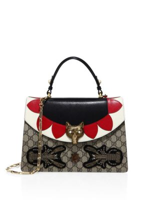 GUCCI MEDIUM EMBELLISHED GG SUPREME & LEATHER TOP HANDLE BAG, MULTI