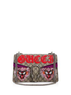 Dionysus Embroidered Gg Supreme Shoulder Bag, Purple