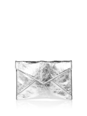 Leo Mirror Metallic Envelope Clutch - Metallic, Silver