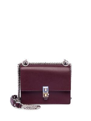 Small Kan I Leather Shoulder Bag - Pink in Burgundy