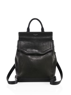Small Pilot Ii Leather Backpack - Black