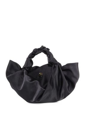 Small Ascot Knotted Satin Tote in Black