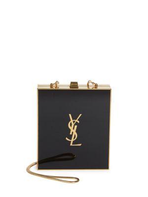 Tuxedo Plexi Shoulder Bag, Black/Gold