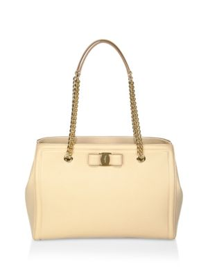 Melike Grained Leather Bow Tote - Beige, Macadamia
