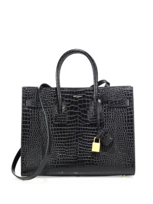 Baby Sac De Jour Croc Embossed Calfskin Leather Tote - Black, Nero/Nero