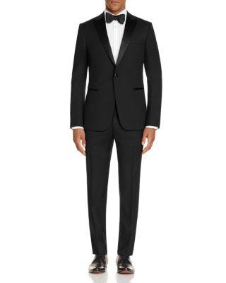 Z ZEGNA Satin Peak Lapel Slim Fit Tuxedo in Black