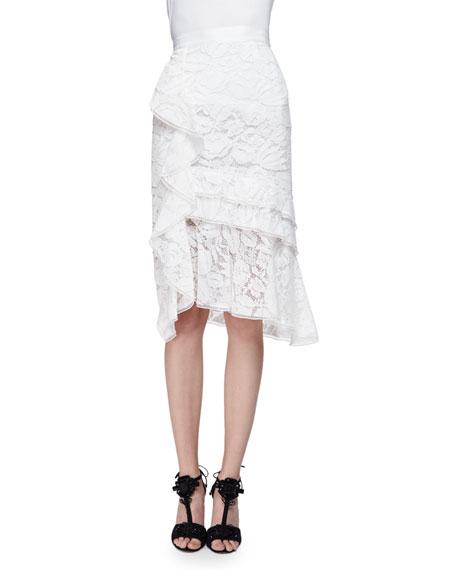 OSCAR DE LA RENTA Tiered-Lace Pencil Skirt W/Ruffle, Ivory/Multi, Ivory Multi