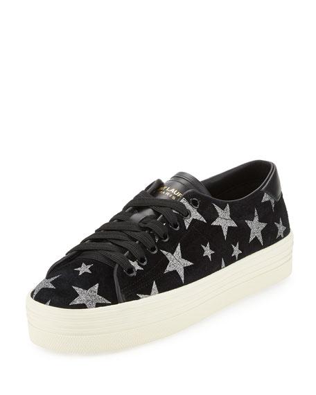 Saint Laurent Black Glitter Stars Court Classic Sneakers 9sNI1j