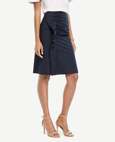 ANN TAYLOR Poplin Flounce Skirt, Atlantic Navy
