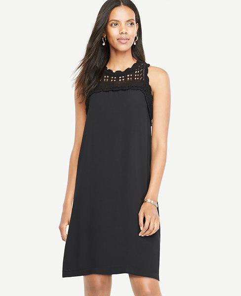 ANN TAYLOR Petite Crochet Yoke Shift Dress, Black
