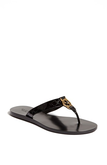 f0560fe7bde GUCCI EMBOSSED PATENT LEATHER SANDALS