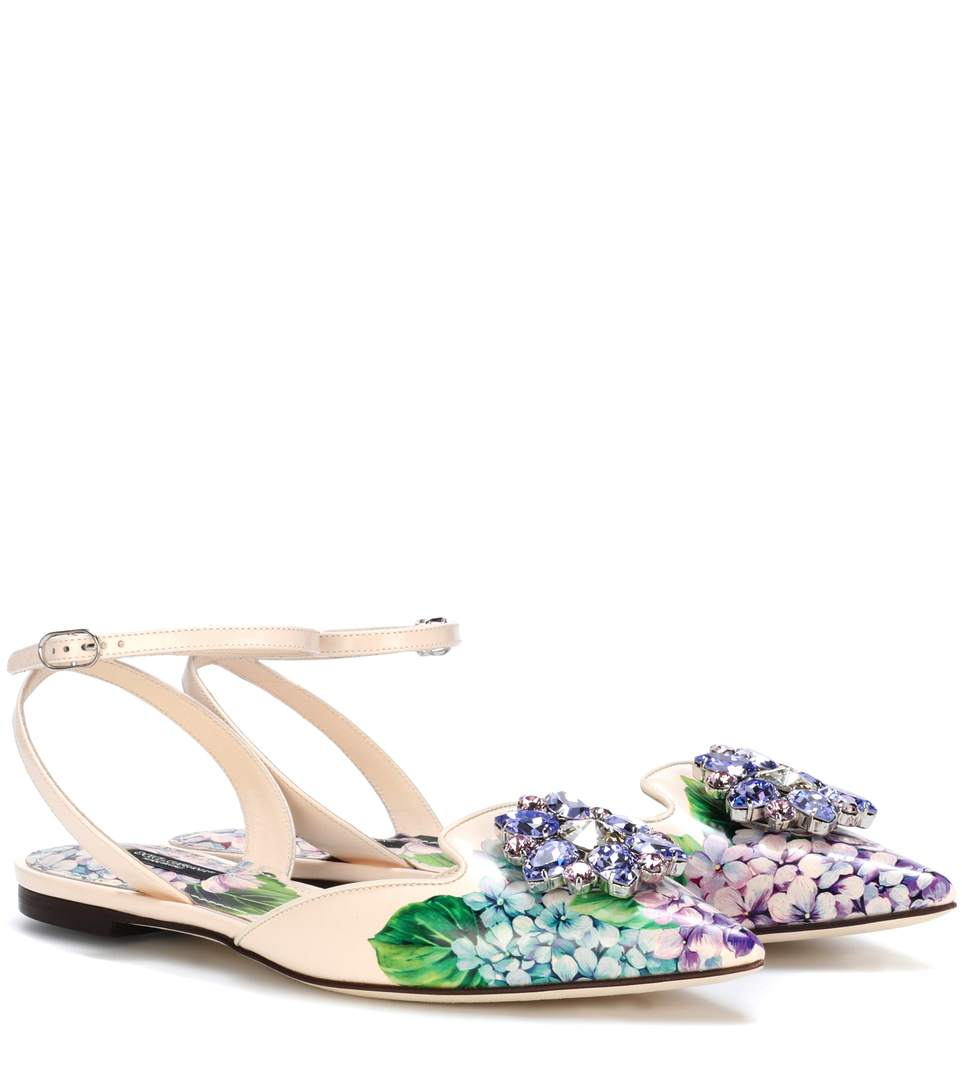 DOLCE & GABBANA Crystal-Embellished Hydrangea-Print Leather Ankle-Strap  Flats, Multi
