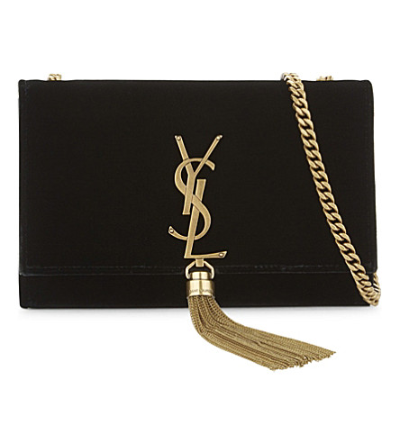 Sunset Monogram Small Velvet Chain Crossbody Bag, Black