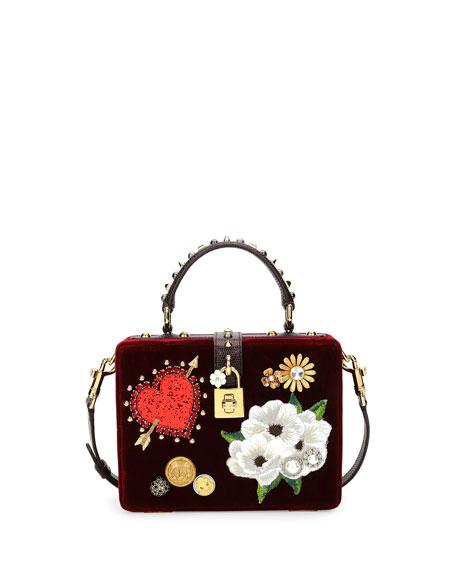 Dolce Box Leather-Trimmed Embellished Velvet Tote, Dark Red