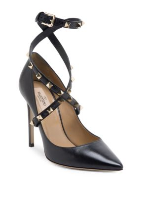 Rockstud Leather Wraparound-Strap Pumps, Black