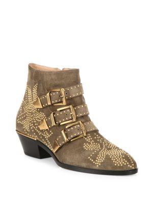 Susanna Suede Ankle Boots - Dark Greige Size 9.5 in Green
