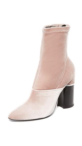 'Kyoto' Metal Insert Heel Crushed Velvet Ankle Boots, Blush