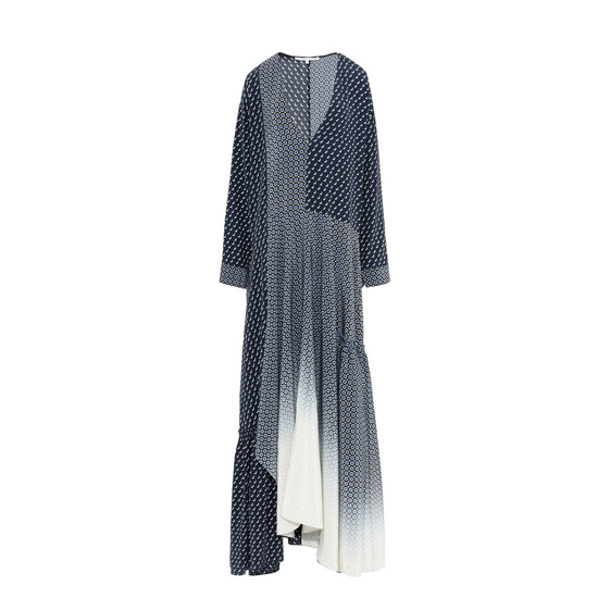 Woman Dominique Paneled Printed Silk Crepe De Chine Maxi Dress Navy, Ink