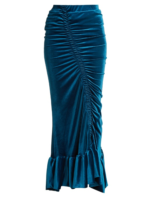 PREEN BY THORNTON BREGAZZI Sophie Gathered Stretch-Velvet Midi Skirt in Blue