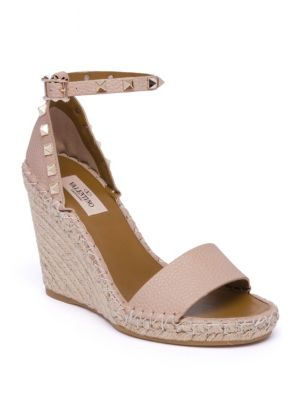 Rockstud Double Leather Espadrille Wedge Sandals, Poudre