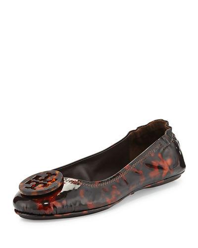 TORY BURCH Women'S Minnie Tortoise Print Patent Leather Travel Ballet Flats