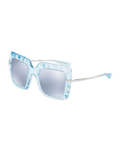 DOLCE & GABBANA Square Faceted Sunglasses, Light Blue