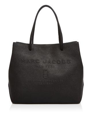 Mini Leather Logo Shopper Tote - Black