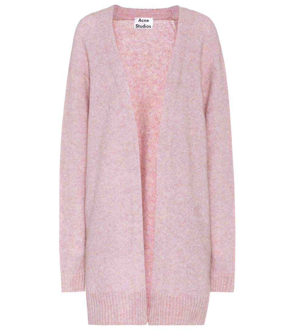 Raya Wool And Mohair-Blend Cardigan, Dusty Pink