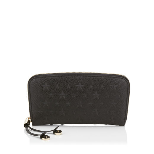 Filipa Black Grainy Leather Wallet With Embossed Stars