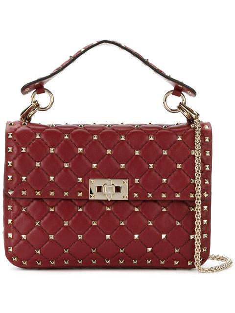 VALENTINO Rockstud Spike Medium Top-Handle Bag in Burgundy