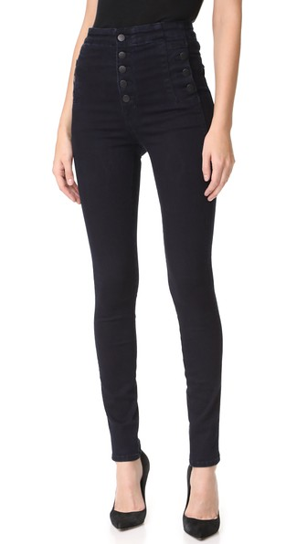 Natasha Button Sky High Coated Skinny Jeans In Fearless in Bluebird