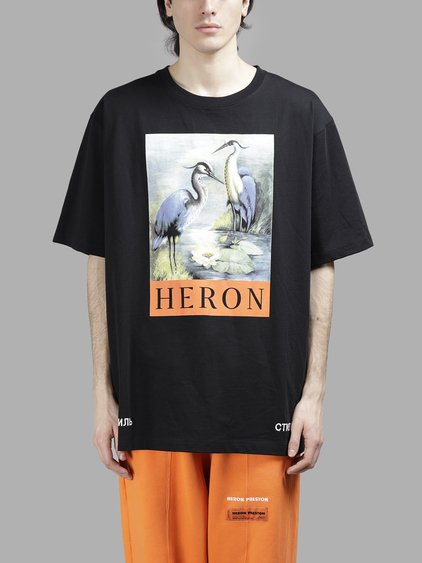 HERON PRESTON Kk Herons Printed Cotton Jersey T-Shirt, Black
