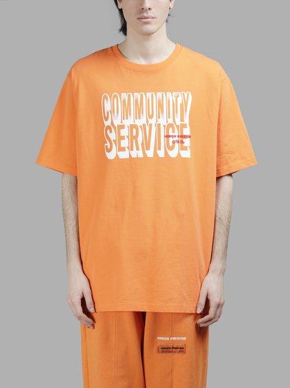HERON PRESTON Community Service Cotton T-Shirt in Orange White