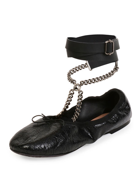 Valentino Chain-Link Wrap-Around Flats sale visit clearance Manchester excellent cheap online discount store outlet best wholesale Fn1quy7