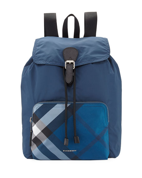 BURBERRY Technical Nylon Packaway Rucksack With Check Trim, Teal Blue