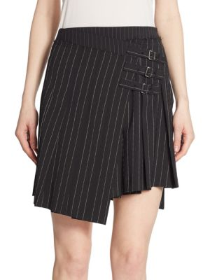 Wrap-Effect Pleated Pinstriped Woven Mini Skirt, Black