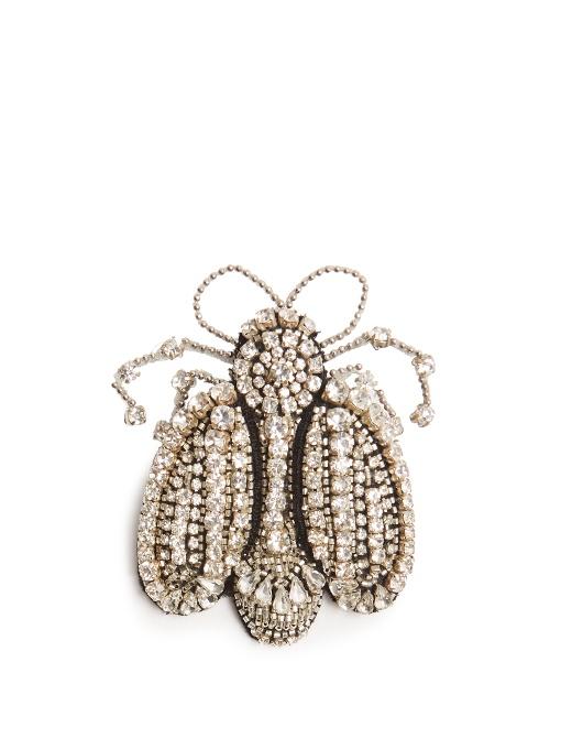 Crystal-embellished flower brooch Rochas ADbJYq8Cbg