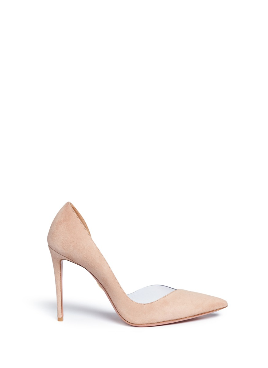 'Eclipse 105' Semi D'Orsay Pvc And Suede Pumps