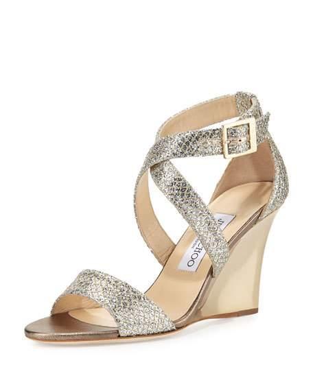 Jimmy Choo Glitter Wedge Sandals outlet genuine azo8H