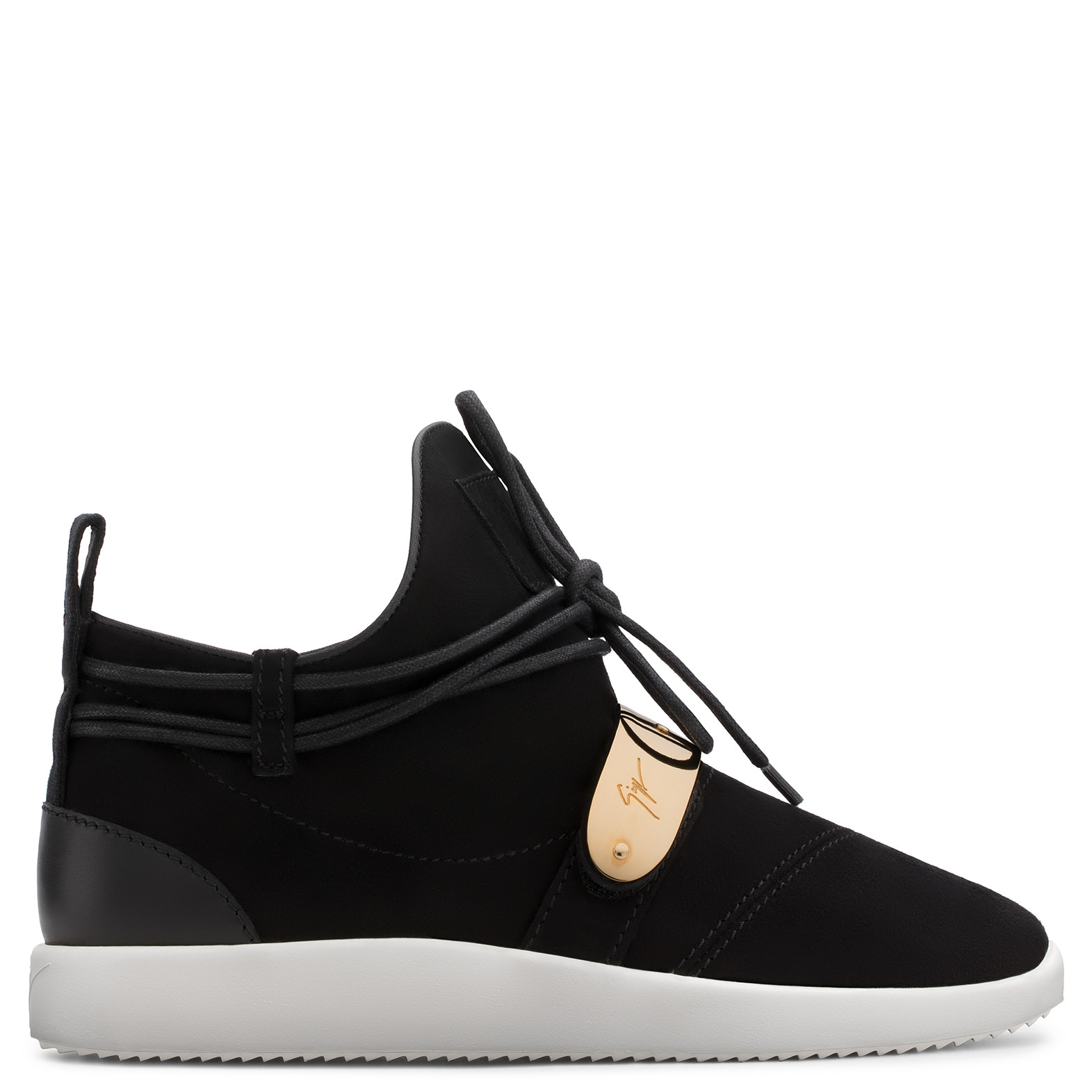 - Suede Sneaker With Metal Plate Hayden in Black