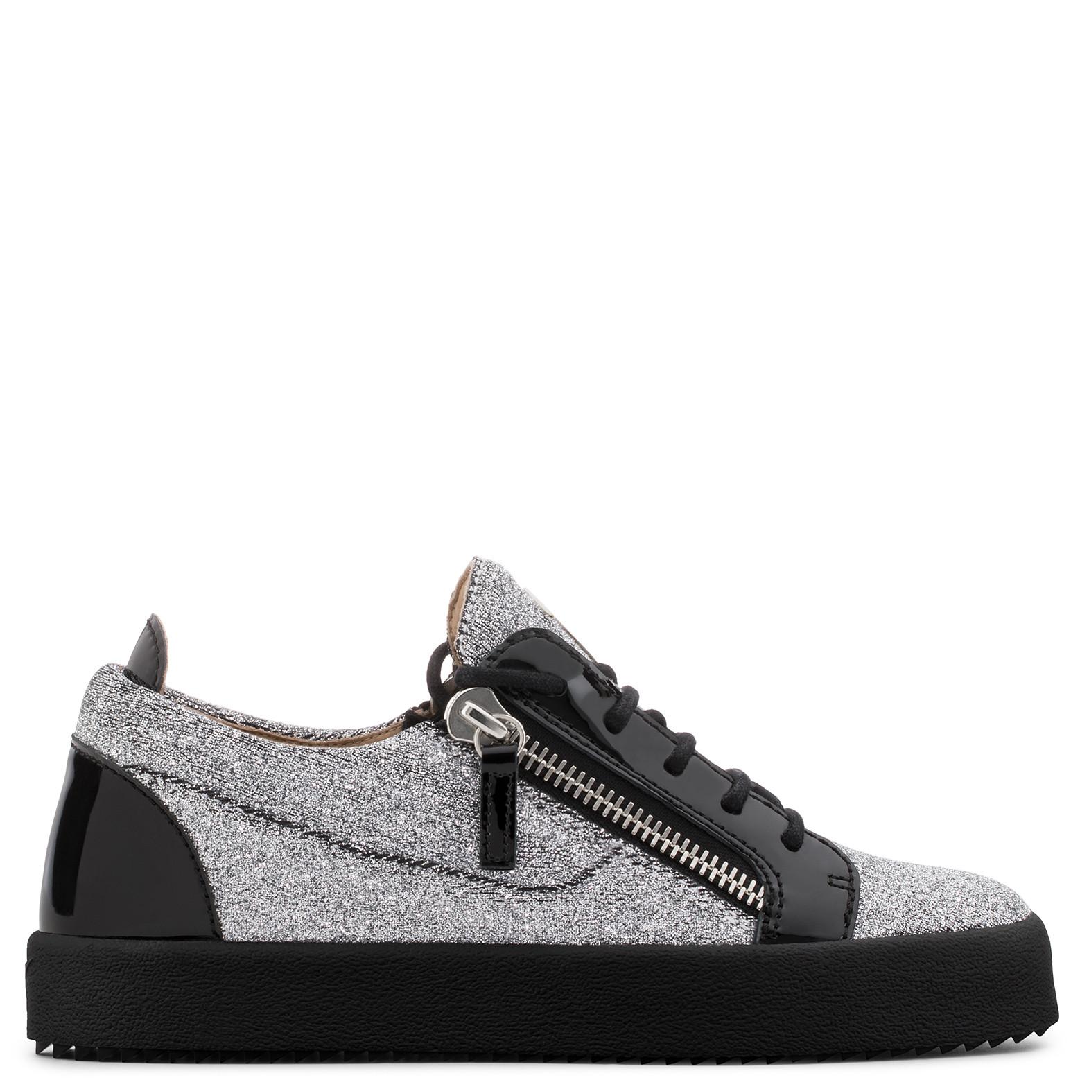 Giuseppe Zanotti Black fabric mid-top sneaker with silver glitter KRISS GLITTER 65mwb