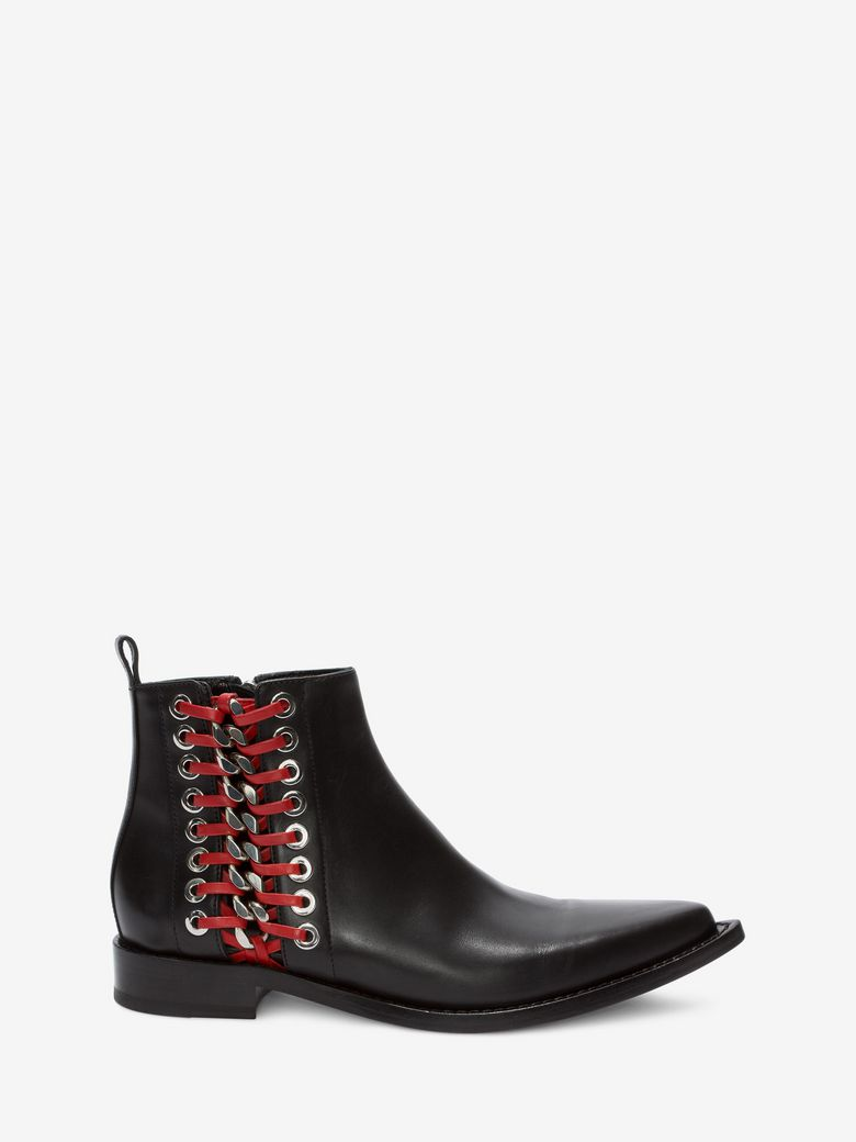 Leather Ankle Boots With Lace-Up Side, Black