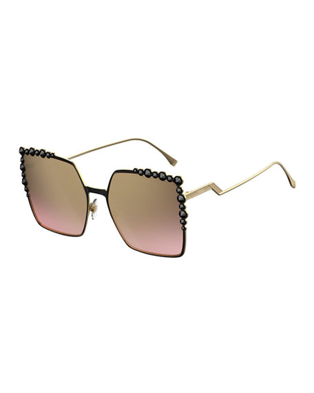 FENDI Can Eye Studded Oversized Square Sunglasses in Black