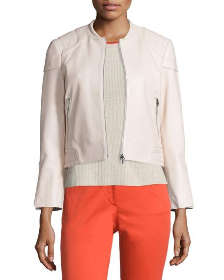 RAG & BONE Astor Leather Zip-Front Jacket, Blush, Ivory