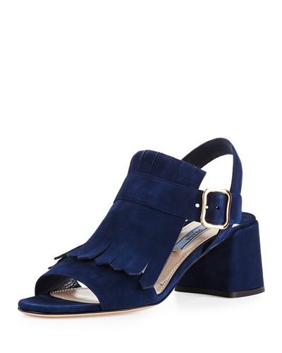 Prada 2016 Kiltie Suede Sandals clearance tumblr outlet factory outlet cheap cost clearance online best prices for sale gRDC3Xuq
