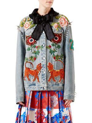 Studded & Embroidered Denim Jacket