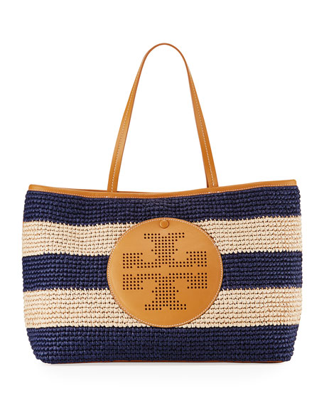 TORY BURCH Straw Perforated Logo Tote Bag, Tory Navy/Natural in Natural/Gold