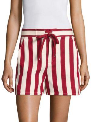 RED VALENTINO Striped Cotton-Blend Shorts in Amarena