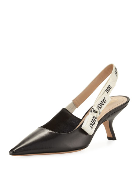 DIOR J'A Leather Slingback Pump, Black